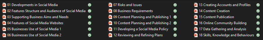 A summary of the contents of the Unit 3 Social Media in Business presentations.